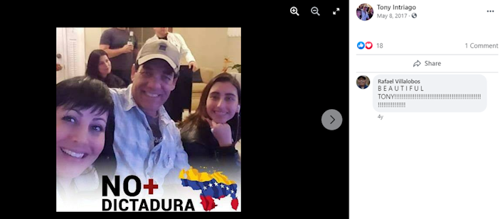 This screenshot from the Facebook page of Venezuelan emigre Antonio Intriago shows that he opposes the Maduro regime in Venezuela. Captured Colombians accused of participating in the July 7, 2021, assassination of Haiti's president claim they were hired by Intriago's Doral-based company CTU Security.