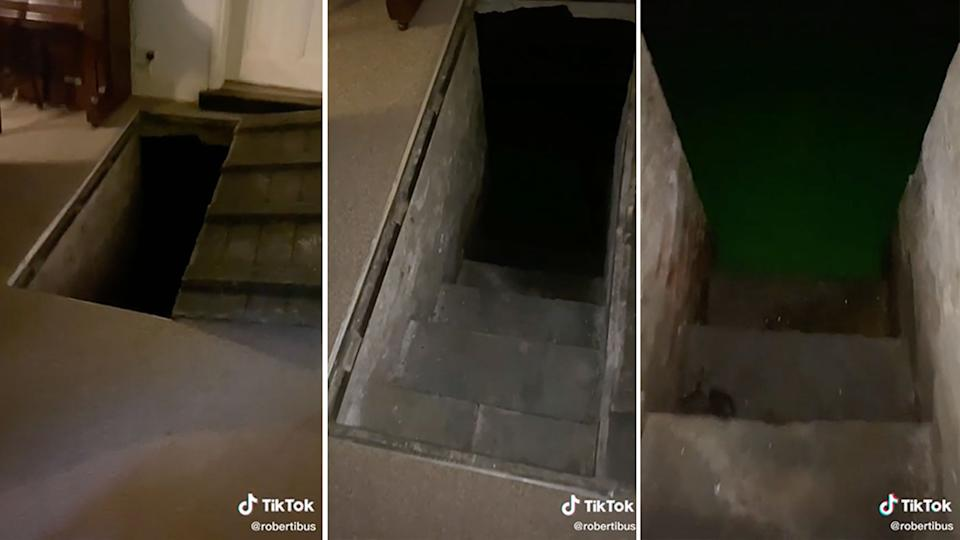 Pictured. is the trap door in the living room and the stairs. which go down into the basement.