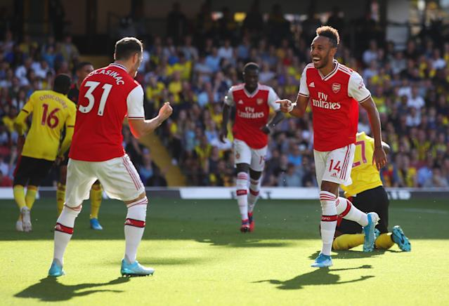 Pierre-Emerick Aubameyang celebrates after scoring Arsenal's first goal. (Photo by Marc Atkins/Getty Images)