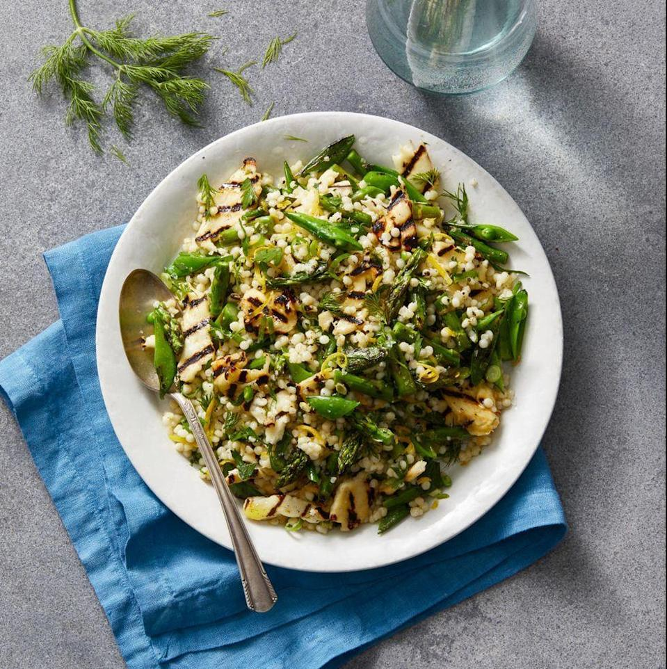 """<p>Haloumi is a semi-soft cheese, similar to feta, with a springy texture and briny flavor. Paired with lemony grilled vegetables and fluffy cous cous, this recipe makes a tasty vegetarian main.</p><p><em><a href=""""https://www.goodhousekeeping.com/food-recipes/a32097516/grilled-haloumi-recipe/"""" rel=""""nofollow noopener"""" target=""""_blank"""" data-ylk=""""slk:Get the recipe for Grilled Haloumi »"""" class=""""link rapid-noclick-resp"""">Get the recipe for Grilled Haloumi »</a></em></p><p><strong>RELATED: </strong><a href=""""https://www.goodhousekeeping.com/food-recipes/healthy/g908/vegetarian-recipes/"""" rel=""""nofollow noopener"""" target=""""_blank"""" data-ylk=""""slk:46 Hearty Vegetarian Recipes for the Whole Family"""" class=""""link rapid-noclick-resp"""">46 Hearty Vegetarian Recipes for the Whole Family</a></p>"""