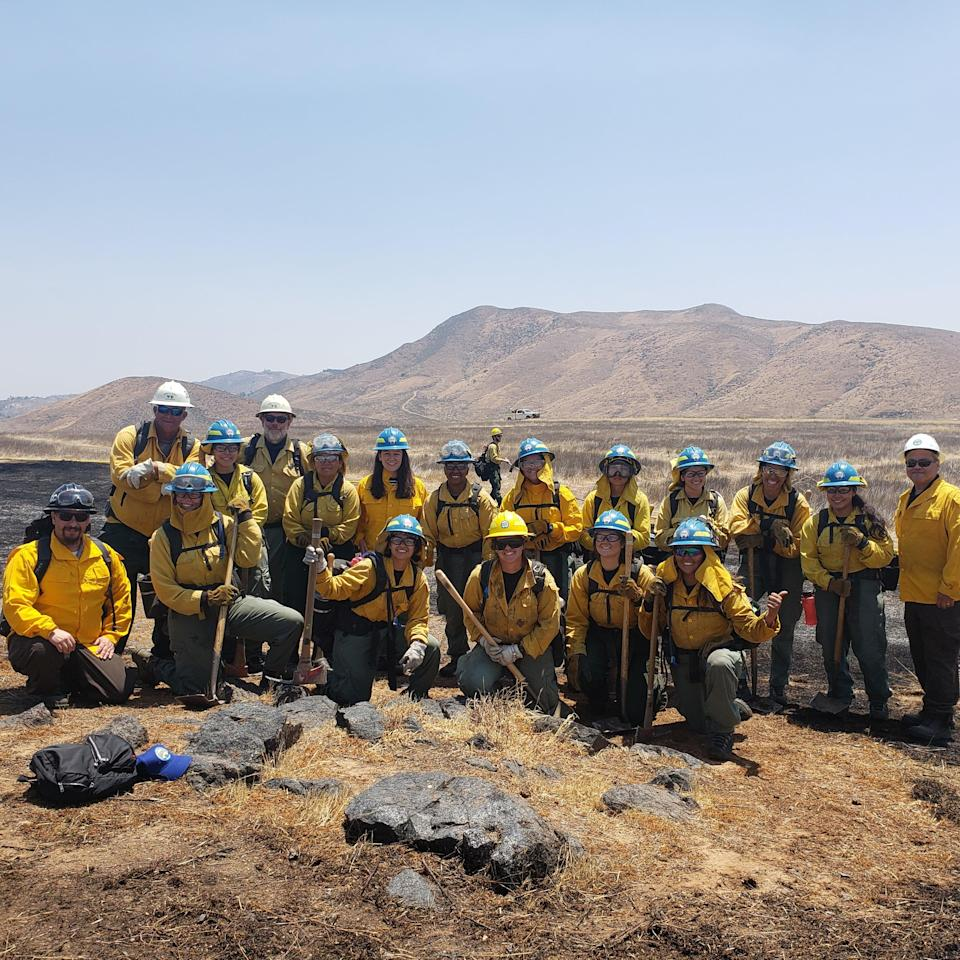 The California Conservation Corps' Inland Crew 5 with training staff and the reporter outside of San Bernardino, California (Courtesy of the California Conservation Corps)