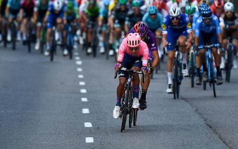 <span>Daniel Martínez and Diego Rubio continue to ride ahead of the peloton</span> <span>Credit: Getty Images </span>