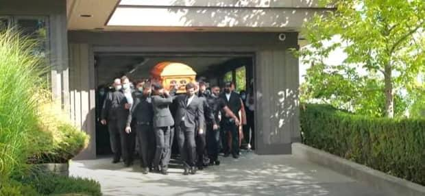 Mourners at the funeral for Ronin Sharma, 16, carry his casket on Saturday, August 28, 2021. (Submitted by Tarsem Nath. - image credit)