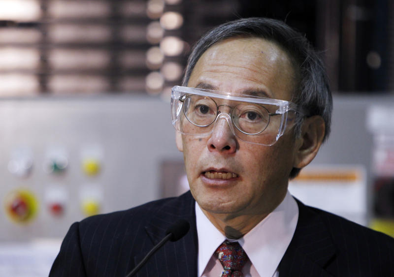 U.S. Energy Secretary Steven Chu talks about solar energy after touring  the General Electric Prime Star solar manufacturing plant in Arvada, Colo.,  on Friday, Nov. 18, 2011.   Chu says the global market for solar energy remains huge and it's important that the United States stay in the game.  Chu's comments come a day after hostile questioning by congressional Republicans over a federal loan to failing solar panel maker Solyndra Inc. Chu told a House committee that unexpected market changes, including cheap imports from China and the collapse of the European market for solar panels, led prices for Solyndra's product to fall.  (AP Photo/Ed Andrieski)