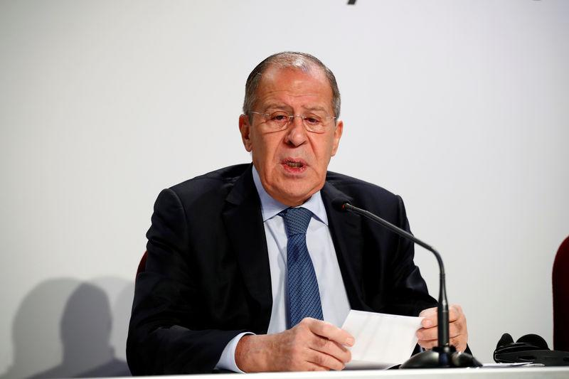 Russian FM Lavrov holds a news conference on the sidelines of OSCE summit in Milan