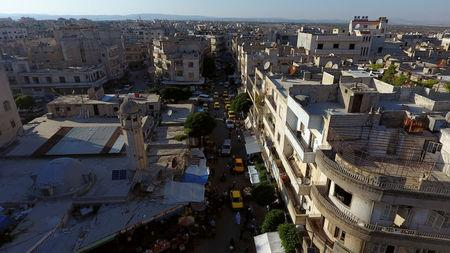 A general view taken with a drone shows part of the rebel-held Idlib city