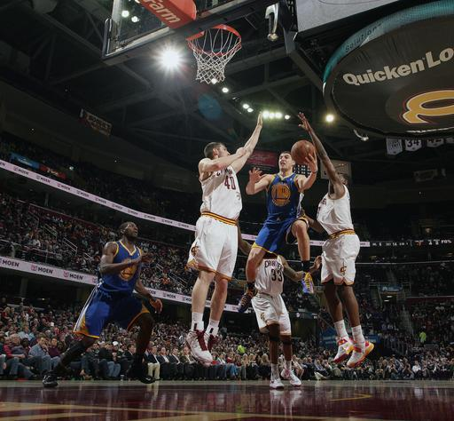CLEVELAND, OH - JANUARY 29: Klay Thompson #11 of the Golden State Warriors goes up for the shot against Tyler Zeller #40 and Tristan Thompson #13 of the Cleveland Cavaliers at The Quicken Loans Arena on January 29, 2013 in Cleveland, Ohio. (Photo by David Liam Kyle/NBAE via Getty Images)