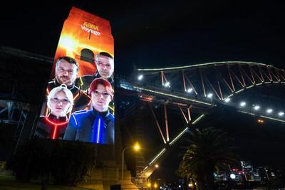 Striking avatars of Agnetha, Björn, Benny, and Anni-Frid illuminated the Pylons of the iconic Sydney Harbour Bridge accompanied by a dazzling light display across the Bridge arc - Credit: Will Hartl
