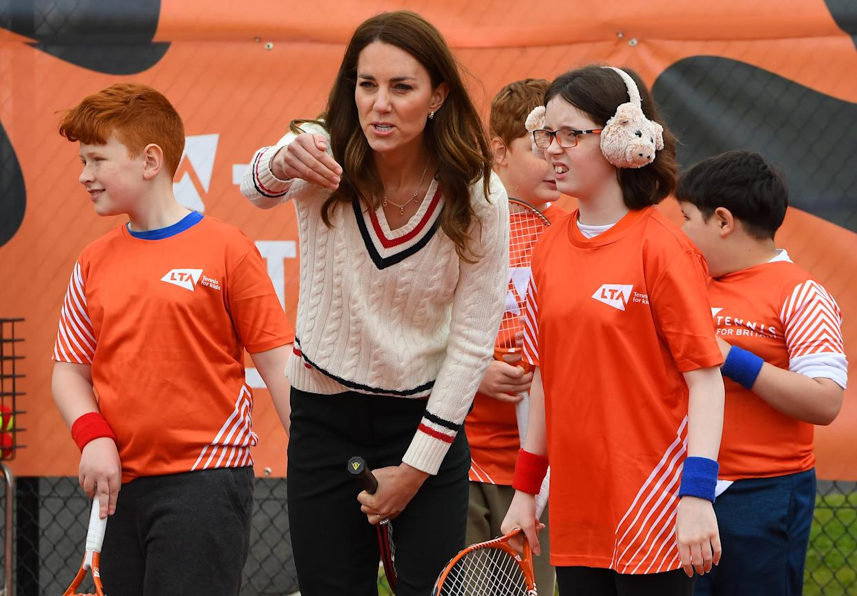 EDINBURGH, SCOTLAND - MAY 27: Catherine, Duchess of Cambridge speaks to schoolchildren as they take part in the Lawn Tennis Association's (LTA) Youth programme, at Craiglockhart Tennis Centre on May 26, 2021 in Edinburgh, Scotland. (Photo by Andy Buchanan - WPA Pool/Getty Images)