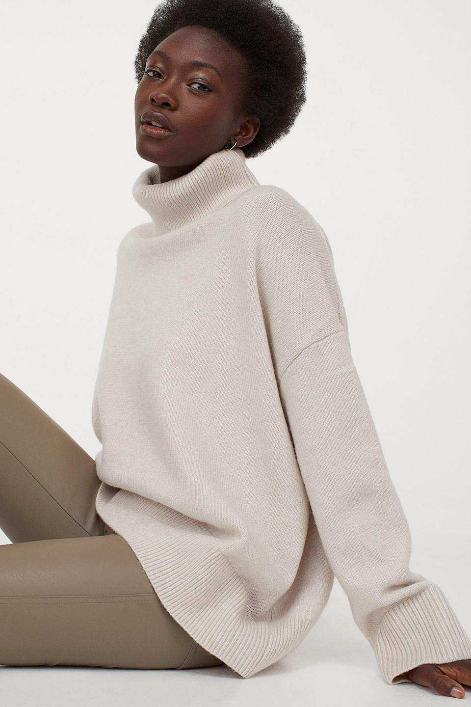 <p>If you love a baggy fit, get the <span>H&M Turtleneck Sweater</span> ($35).</p>