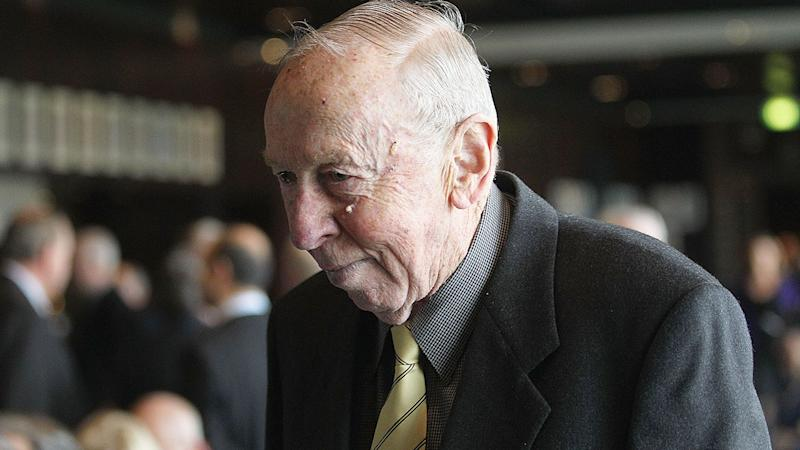 Pictured here, Hawthorn legend John Kennedy Snr died peacefully, aged 91.