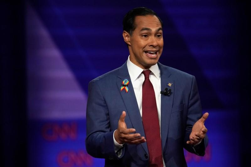 Democratic 2020 U.S. presidential candidate Julian Castro takes part during a televised townhall on CNN dedicated to LGBTQ issues in Los Angeles, California