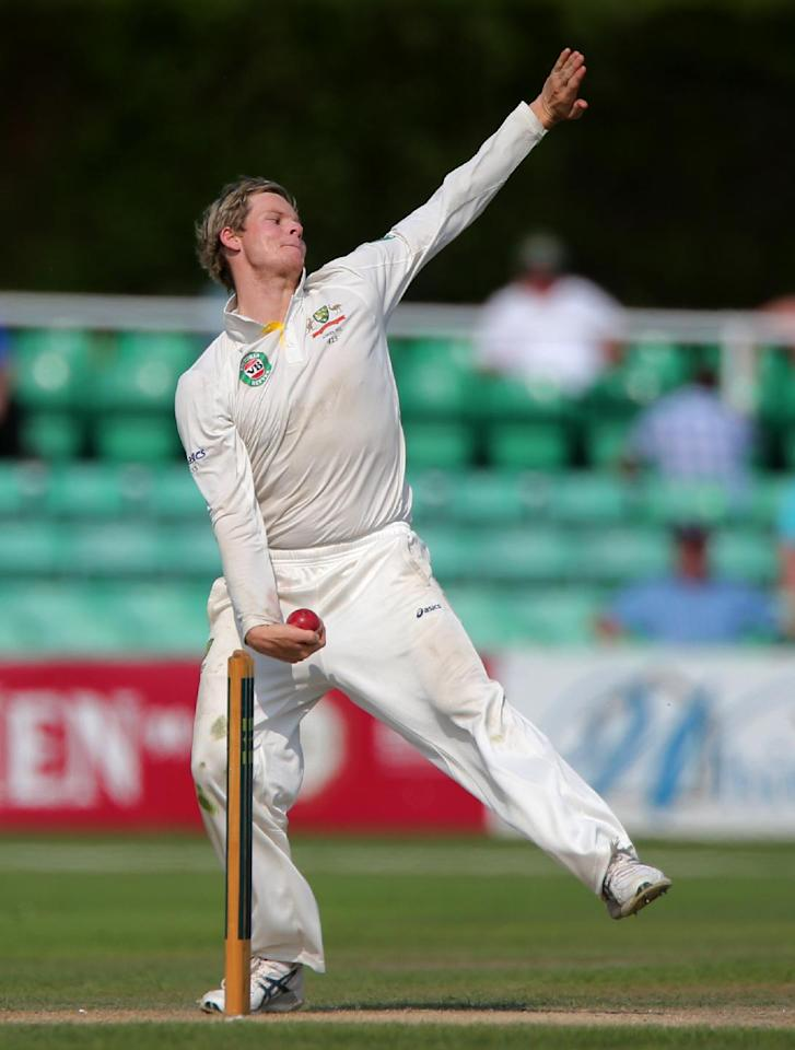 Australia bowler Steve Smith during day four of the International Tour match at New Road at Worcester.