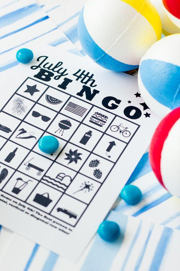 """<p>Entertain the kids while the burgers and dogs cook with a friendly game of Bingo. This free printable makes planning the game a cinch—just make sure to pick up some red, white, and blue candies to use as game pieces. </p><p><a class=""""link rapid-noclick-resp"""" href=""""https://studiodiy.com/free-printable-july-4th-bingo/"""" rel=""""nofollow noopener"""" target=""""_blank"""" data-ylk=""""slk:GET THE PRINTABLE"""">GET THE PRINTABLE</a></p><p><a class=""""link rapid-noclick-resp"""" href=""""https://www.amazon.com/White-Blue-Chocolate-Candy-Value/dp/B07CN6Z8PY/?tag=syn-yahoo-20&ascsubtag=%5Bartid%7C10072.g.32715018%5Bsrc%7Cyahoo-us"""" rel=""""nofollow noopener"""" target=""""_blank"""" data-ylk=""""slk:SHOP CANDY"""">SHOP CANDY</a></p>"""