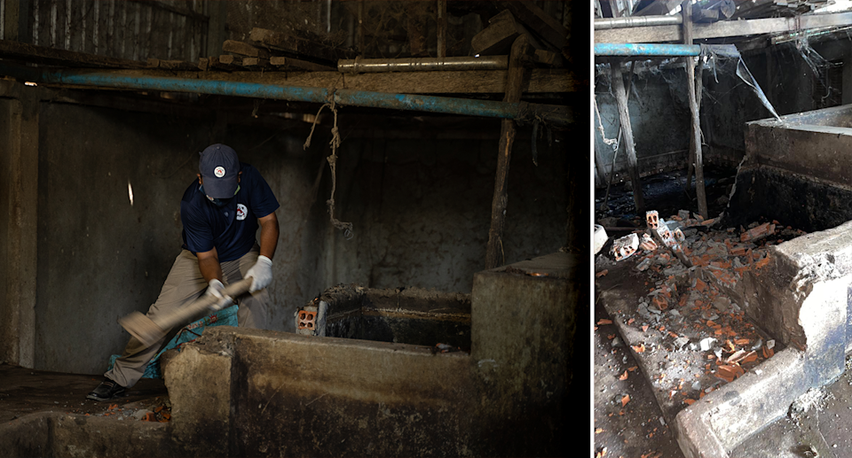 Left - a man destroying a water tank used to drown dogs. Right - broken bricks after the water tank was destroyed.