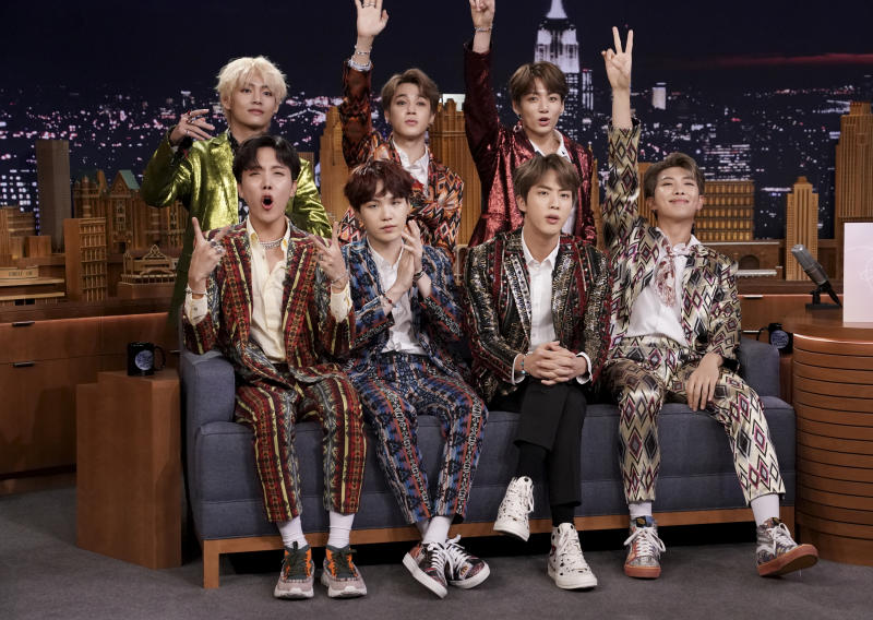 THE TONIGHT SHOW STARRING JIMMY FALLON -- Episode 0931 -- Pictured: Band BTS during an interview on September 25, 2018 -- (Photo by: Andrew Lipovsky/NBC/NBCU Photo Bank via Getty Images)