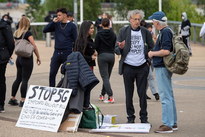 Piers Corbyn joins anti vaccination protestors outside an NHS Vaccination Clinic at West Ham's London Stadium in Stratford, east London. The NHS is braced for high demand as anyone in England over the age of 18 can now book a Covid-19 vaccination jab. Picture date: Saturday June 19, 2021.