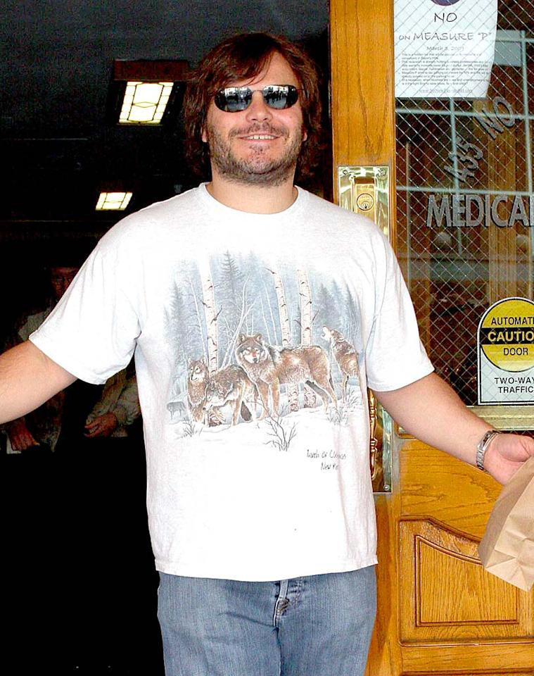 "When they're not walking the red carpet, stars in LA often opt for a casual look. Here, Jack Black sports a wildlife inspired t-shirt to the doctor's office. <a href=""http://www.infdaily.com"" target=""new"">INFDaily.com</a> - February 24, 2009"