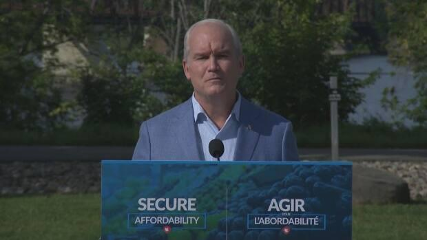 Conservative Leader Erin O'Toole announced his plan to curb price-fixing at a campaign event in Fredericton. (CBC - image credit)