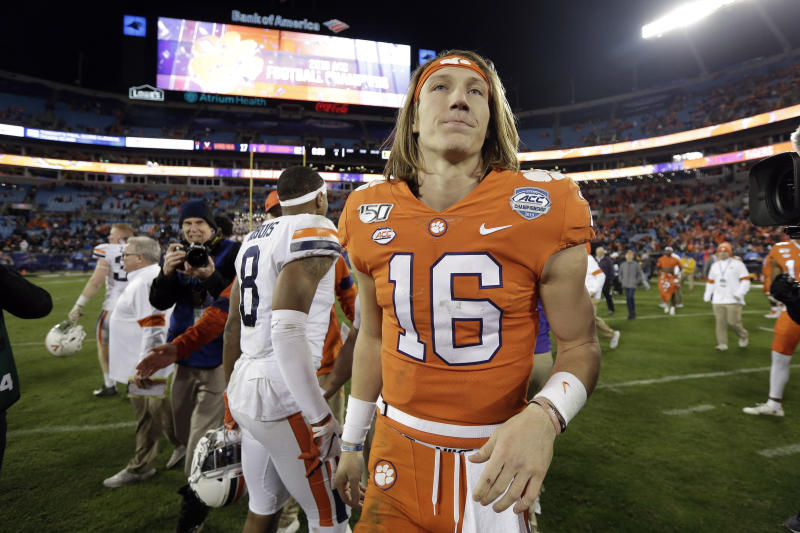 Clemson QB Trevor Lawrence (16) is seen following the ACC title game on Dec. 7, 2019. (AP)
