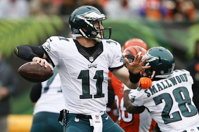 Carson Wentz had another rough Sunday, this one resulting in a 36-of-60 outing against the Bengals. (AP)