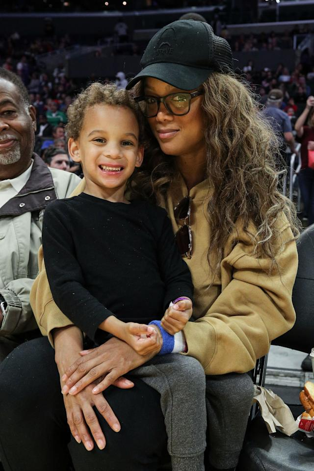 The founder of ModelLand loves to brag about her four-year-old son with ex Erik Asla, but showing him on her social media is another. So we couldn't believe how grown-up he looked when she brought him to a Harlem Globetrotters exhibition in L.A. in February!