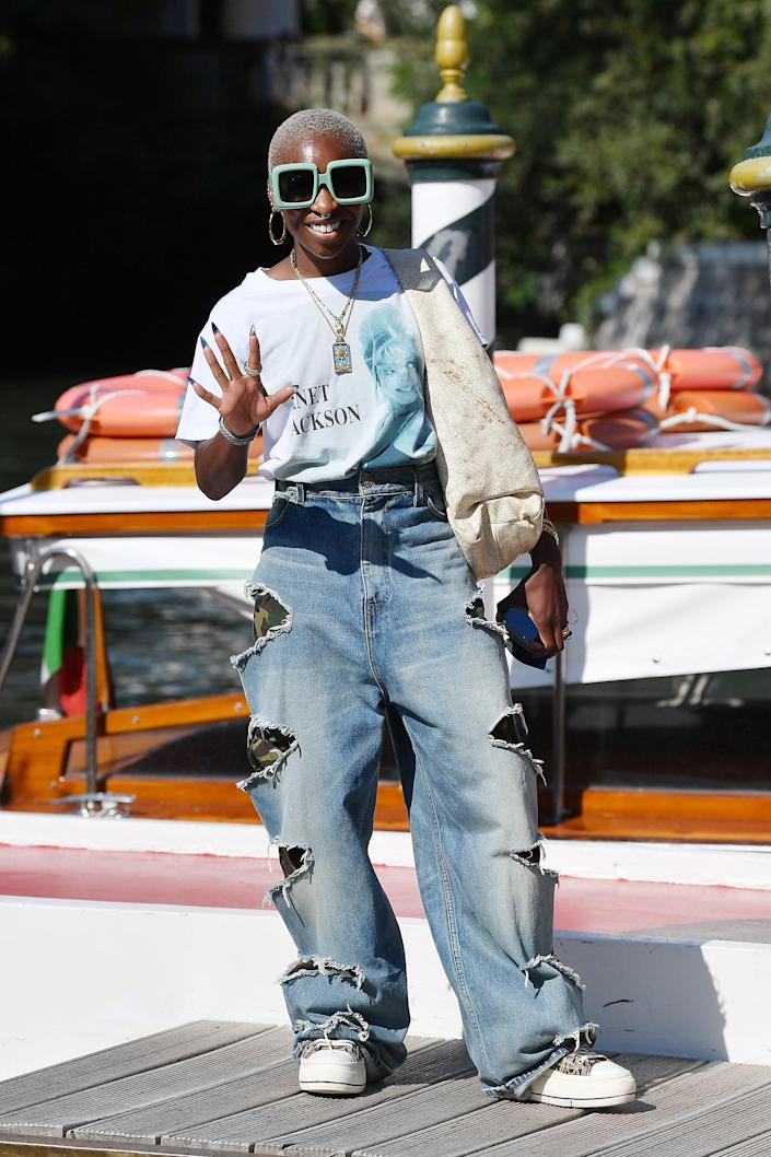 <p>It doesn't get cooler than Cynthia Erivo in these cutout jeans and megawatt shades at the Venice Film Festival. </p>