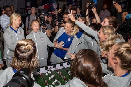 May 24, 2019; New York, NY, USA; The U.S. Women's National Team play on a USWNT Foosball table during the U.S. Women's National Team World Cup media day at Twitter NYC. Mandatory Credit: Dennis Schneidler-USA TODAY Sports