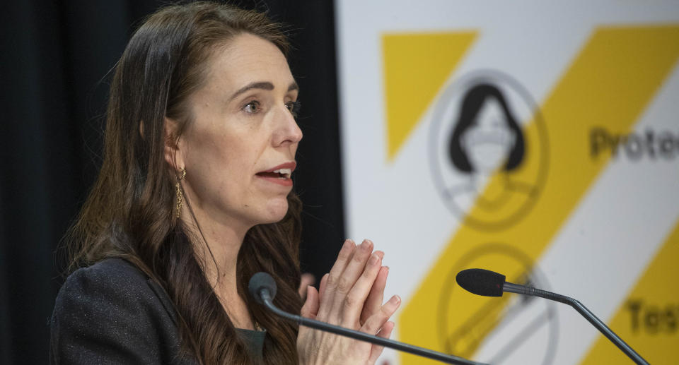 New Zealand Prime Minister Jacinda Ardern is pictured during a Covid update.