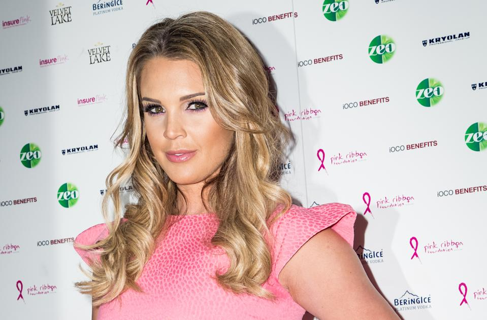 Danielle Lloyd poses for photographers upon arrival at the PINK London Party in London, Tuesday, Sept. 29, 2015. (Photo by Vianney Le Caer/Invision/AP)