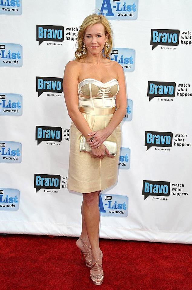 "Although Chelsea Handler bared all for Allure magazine's May issue, she decided to cover up for the A-List awards in this metallic corset dress. Jordan Strauss/<a href=""http://www.wireimage.com"" target=""new"">WireImage.com</a> - April 5, 2009"