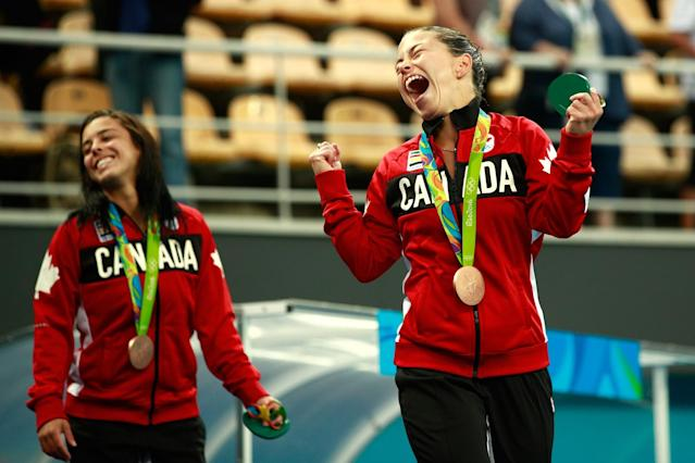 "<p>The duo took the bronze medal together in the 10-metre synchronized event, defending the medal they had won four years ago at the 2012 London Games. Benfeito capped off her Rio run in style after winning her second bronze and first individual medal. ""I've always said that if I became a double Olympic medallist, I would stop diving,"" Benfeito <a href=""https://ca.sports.yahoo.com/news/ottawa-wrestler-erica-wiebe-wins-223921251.html"" data-ylk=""slk:said"" class=""link rapid-noclick-resp newsroom-embed-article"">said</a>. ""But I want to continue and my decision (to participate in the Tokyo 2020 Games) had already been made."" </p>"