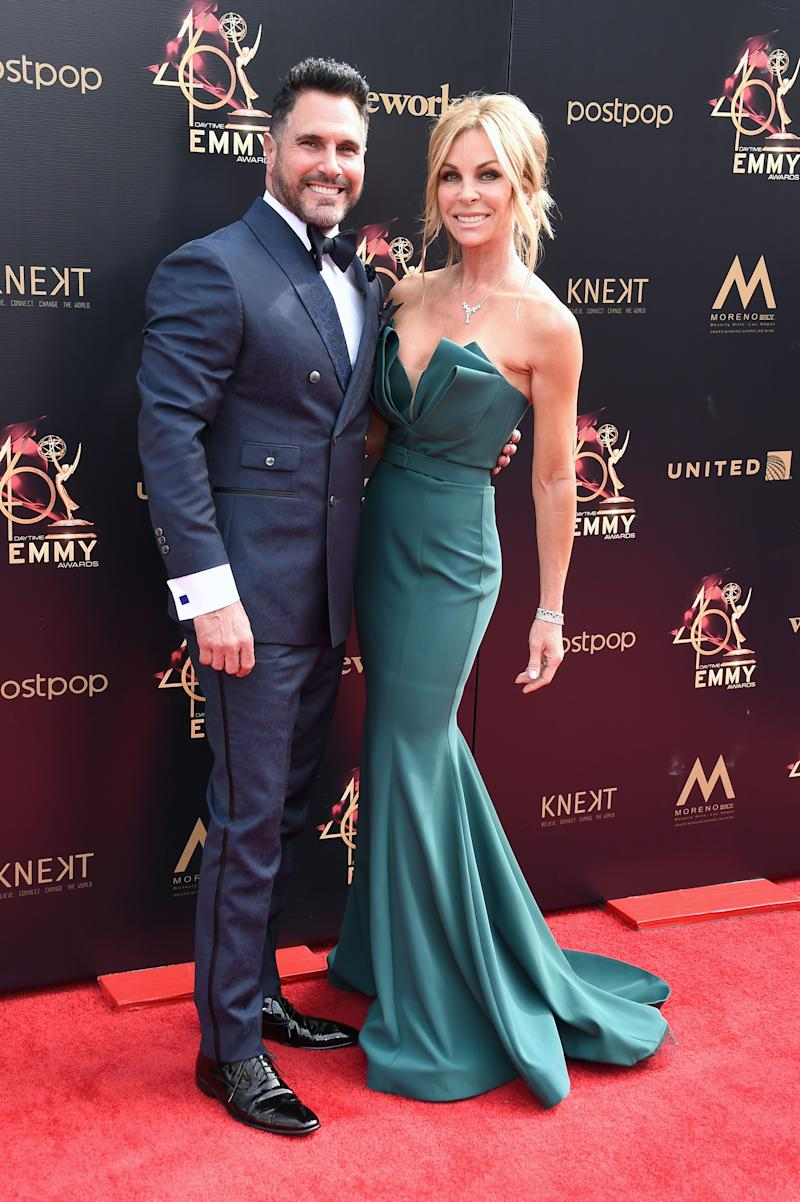 Don Diamont and wife, Cindy Ambuehl look breath-taking on the red carpet in a suit and floor-sweeping green dress.
