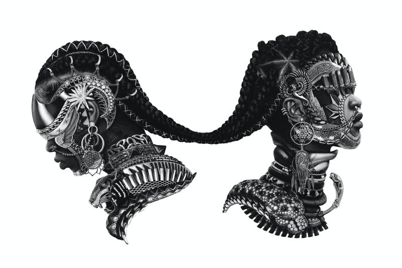 Two heads facing away from each other and connected at the hair.