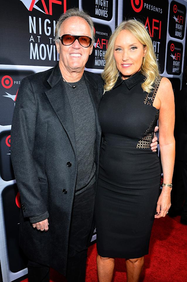 HOLLYWOOD, CA - APRIL 24:  Actor Peter Fonda (L) and Parky Fonda  arrive on the red carpet for Target Presents AFI's Night at the Movies at ArcLight Cinemas on April 24, 2013 in Hollywood, California.  (Photo by Frazer Harrison/Getty Images for AFI)