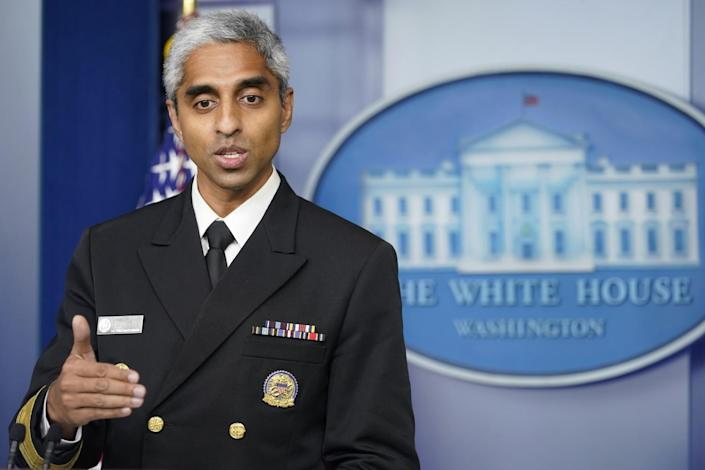 Surgeon General Dr. Vivek Murthy speaks at the White House.