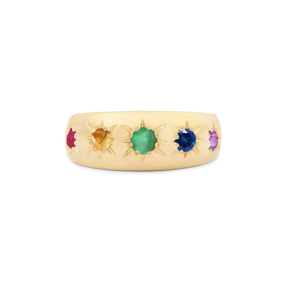 """<p>foxandbond.com</p><p><strong>$955.00</strong></p><p><a href=""""https://foxandbond.com/collections/fox-bond-originals/products/the-f-b-rainbow-starburst-ring"""" rel=""""nofollow noopener"""" target=""""_blank"""" data-ylk=""""slk:Shop Now"""" class=""""link rapid-noclick-resp"""">Shop Now</a></p><p>""""Fox & Bond will be donating 100% of proceeds from their Rainbow Starburst Ring to aid the <a href=""""https://nqttcn.com/en/#:~:text=The%20National%20Queer%20and%20Trans,people%20of%20color%20(QTPoC)."""" rel=""""nofollow noopener"""" target=""""_blank"""" data-ylk=""""slk:National Queer and Trans Therapists of Color Network"""" class=""""link rapid-noclick-resp"""">National Queer and Trans Therapists of Color Network</a> in their work supporting the mental health of queer and trans people of color. While Pride is a time of celebration and love it is also a time to recognize healing that may need to be done and how to uplift those needs as well.""""—<em>Cassandra Hogan, Fashion Assistant</em></p>"""