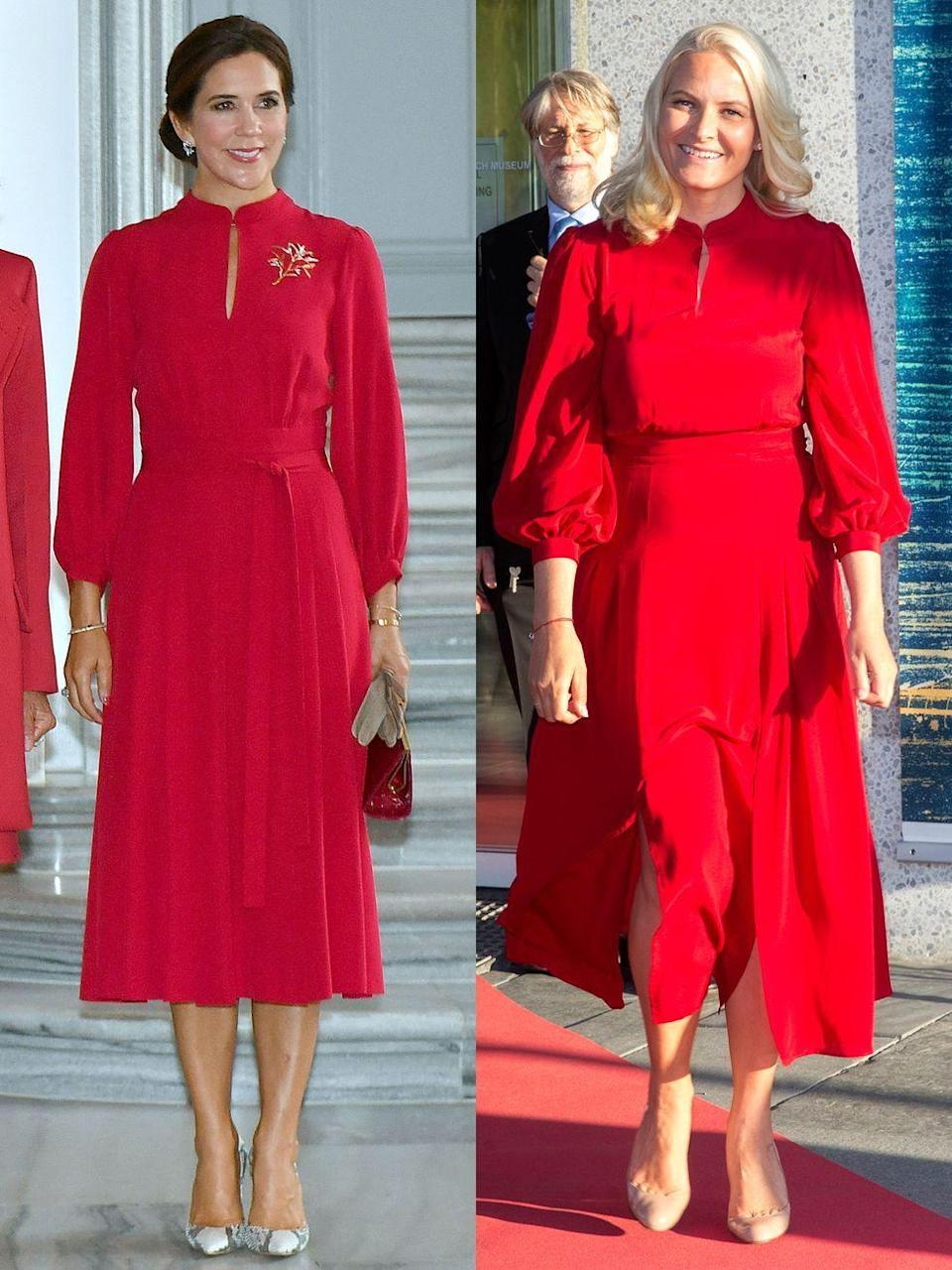 """<p>At right, Crown Princess Mette-Marit wore a dress by Raquel Diniz to the opening of the exhibition """"Towards the Forest—Knausgaard on Munch"""" in Oslo, Norway in May, 2017. On left, Crown Princess Mary of Denmark wore the same dress to the Royal Danish Academy of Fine Arts in Copenhagen in August 28, 2018.</p>"""