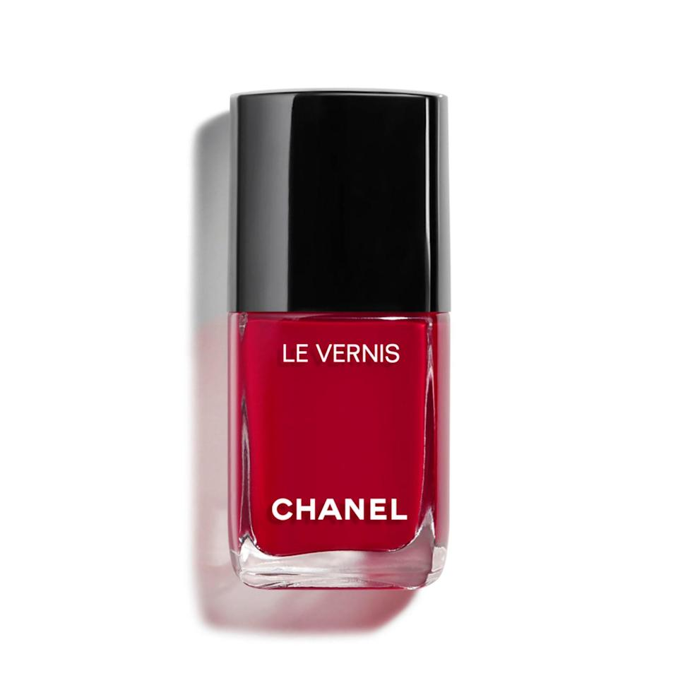 """<p>A cherry red with blue undertones, like Chanel Le Vernis in Pirate, is both sophisticated and eye-catching. """"I can't count the number of times this color was worn <a href=""""https://www.allure.com/topic/red-carpet-beauty?mbid=synd_yahoo_rss"""" rel=""""nofollow noopener"""" target=""""_blank"""" data-ylk=""""slk:on the red carpet"""" class=""""link rapid-noclick-resp"""">on the red carpet</a>,"""" said Hanna, whose celebrity clients often request this shade.</p> <p><strong>$28</strong> (<a href=""""https://shop-links.co/1692774978570335044"""" rel=""""nofollow noopener"""" target=""""_blank"""" data-ylk=""""slk:Shop Now"""" class=""""link rapid-noclick-resp"""">Shop Now</a>)</p>"""