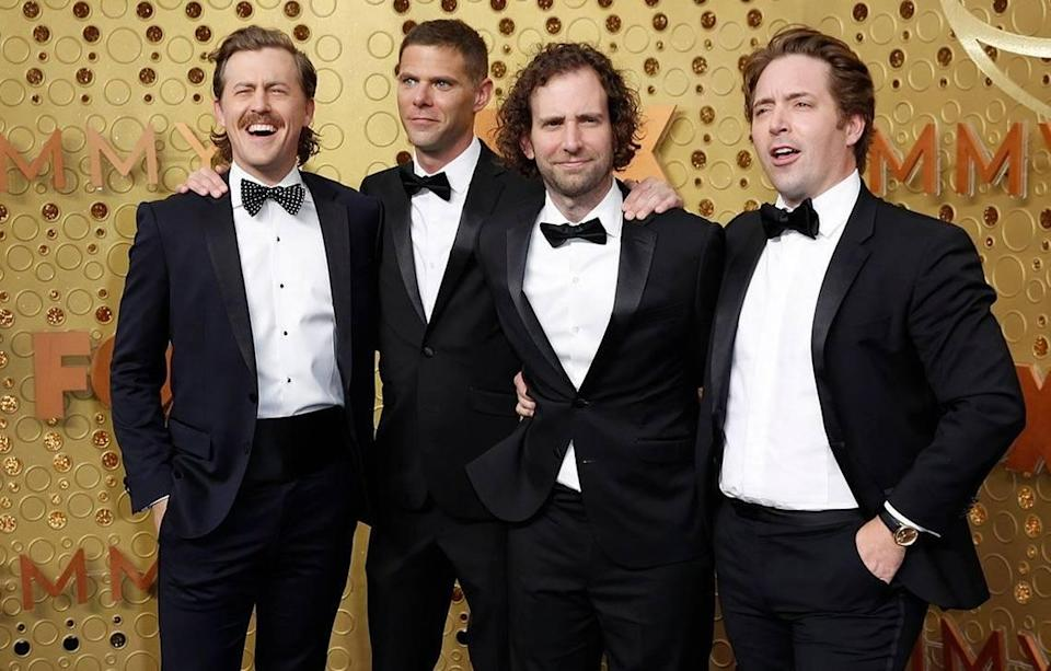 """From left, """"Saturday Night Live"""" cast members Alex Moffat, Mikey Day, Kyle Mooney and Beck Bennett arrive for the Emmy Awards in 2019. Bennett will not be returning to """"SNL."""""""