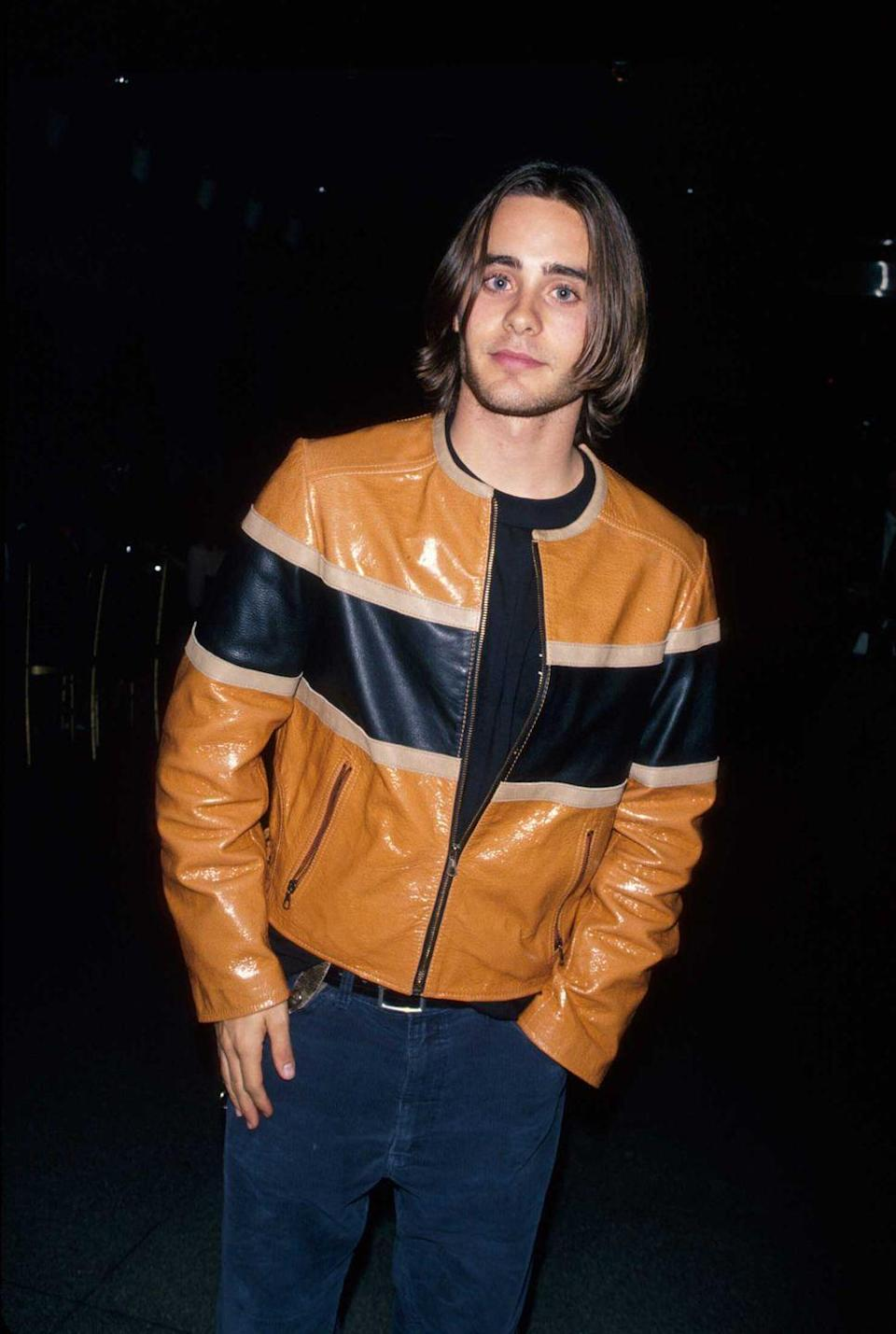 <p>Long hair, blue eyes, and the epitome of a '90s vibe, Jared Leto poses in 1994. </p>