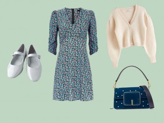 Faux Patent Flat Shoes with Strap, £25.99, Zara; Blue Ditsy Floral V Neck Mini Dress, £25.99, New Look; Waffle Knit Wool Blend Cardigan, £85, & Other Stories; Georgie Croc-effect Leather Shoulder Bag, £590, Net-a-Porter