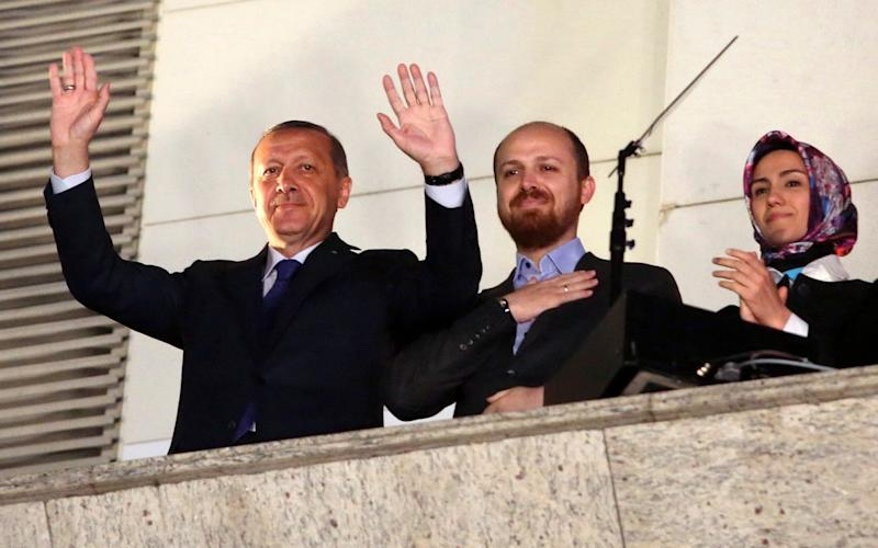 President Erdogan's son Bilal (centre) and daughter Sumeyye (right) both studied in the US - Reuters