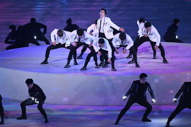 <p>Band EXO perform during the Closing Ceremony of the PyeongChang 2018 Winter Olympic Games at PyeongChang Olympic Stadium on February 25, 2018 in Pyeongchang-gun, South Korea. (Photo by David Ramos/Getty Images) </p>