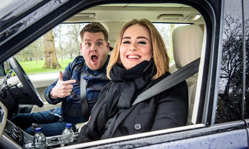 Adele joins Corden for a January 2016 episode of Carpool Karaoke