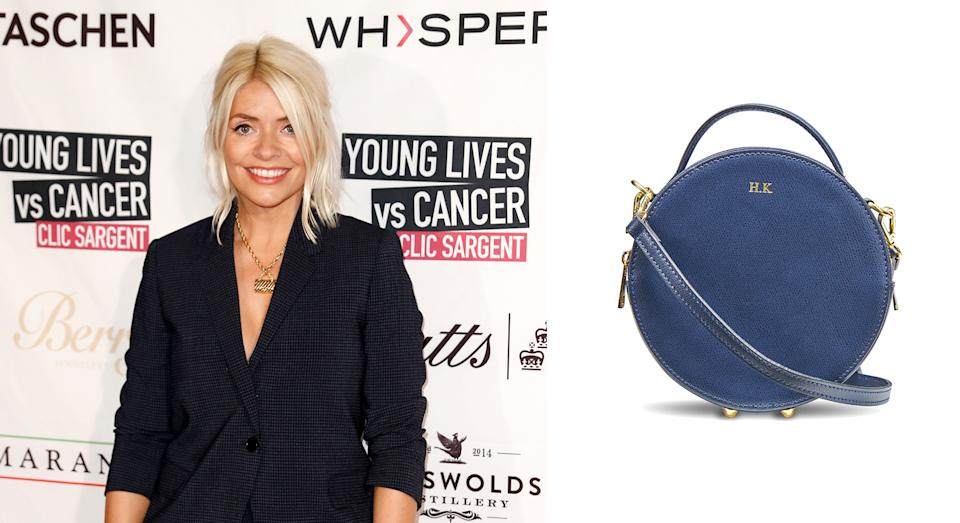 Holly Willoughby attended the A Very British Affair charity event on Friday wearing a personalised circle bag [Photo: Getty Images]