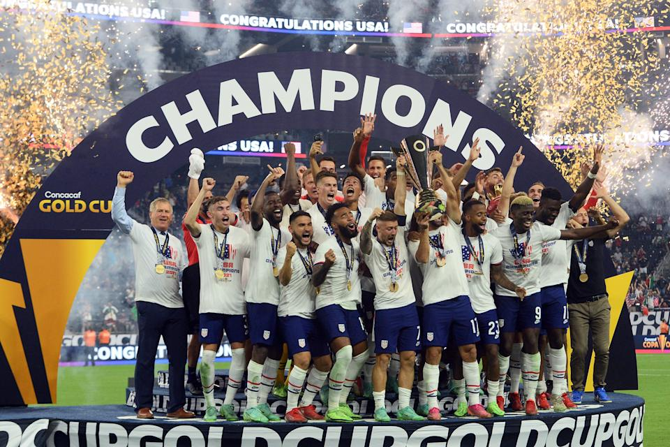 The USMNT celebrates after defeating Mexico in the Concacaf Gold Cup final.