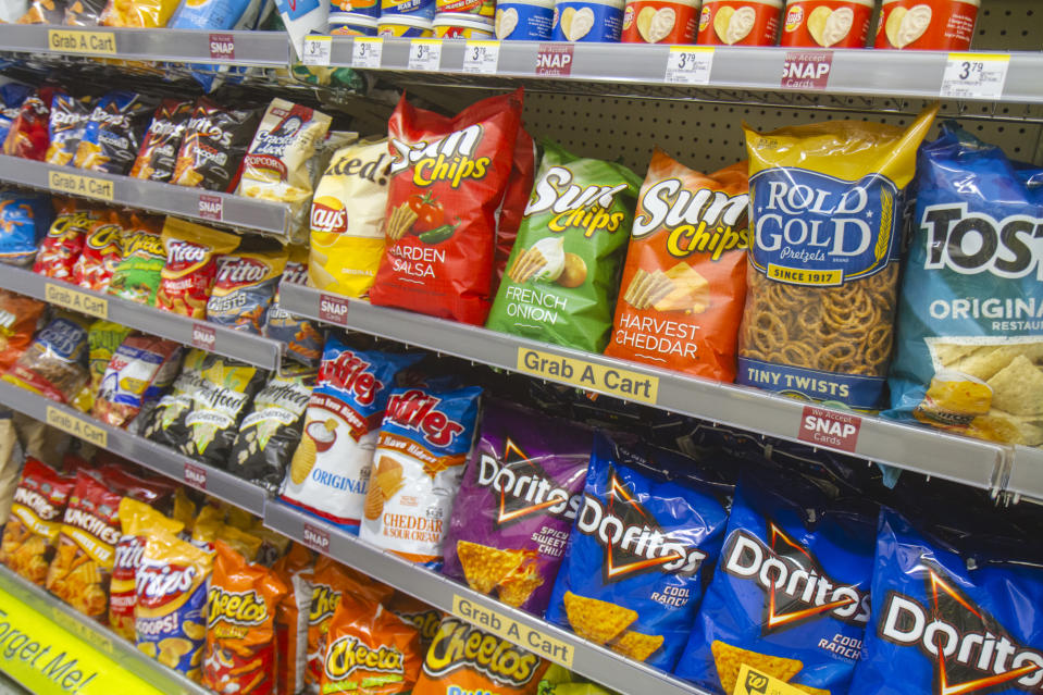 Shelves of snacks for sale inside Walgreens at Cocoa Beach. (Photo by: Jeffrey Greenberg/Universal Images Group via Getty Images)