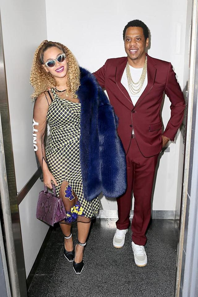 "<p>The music supercouple were spotted looking crazy in love on Jay-Z's 48th birthday, as they <a href=""https://www.yahoo.com/entertainment/beyonc-jay-z-happily-pose-071843097.html"" data-ylk=""slk:exited an elevator"" class=""link rapid-noclick-resp"">exited an elevator</a> after a movie date in NYC on Monday. (Photo: BACKGRID) </p>"