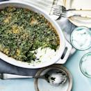 "<p>This healthy creamed spinach gratin calls for frozen spinach so it's a quick and easy side dish that's sure to become a dinnertime staple. <a href=""http://www.eatingwell.com/recipe/251624/creamed-spinach-gratin/"" rel=""nofollow noopener"" target=""_blank"" data-ylk=""slk:View recipe"" class=""link rapid-noclick-resp""> View recipe </a></p>"
